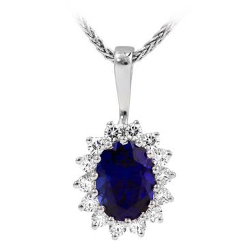 14k White Gold Rego 1/3ct Diamond and Sapphire Pendant
