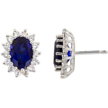 14k White Gold Rego 1/2ct Diamond and Sapphire Earrings