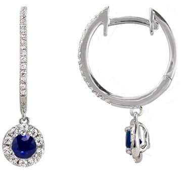14k White Gold Rego 1/3ct Diamond and Sapphire Huggie Drop Earrings