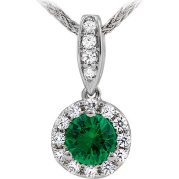 14k White Gold Rego 1/7ct Diamond and Emerald Pendant