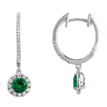 14k White Gold Rego 3/8ct Diamond and Emerald Huggie Drop Earrings