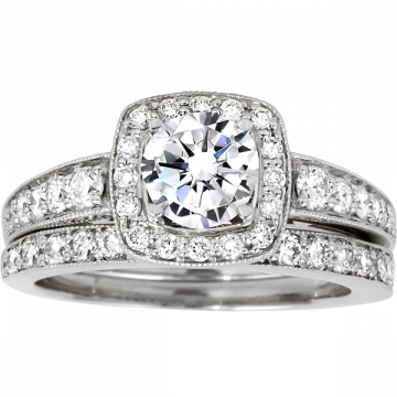 14k White Gold Rego 3/8ct Diamond Semi Mount Engagement Ring