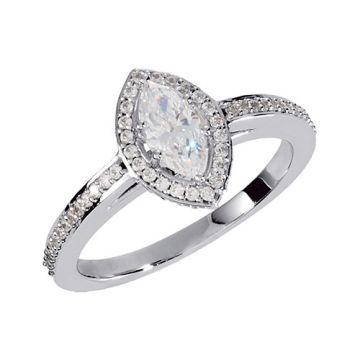 14k White Gold Marquise Halo Engagement Ring