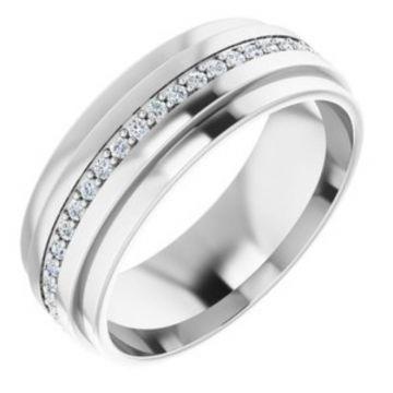 14K White 1/3 CTW Diamond Eternity Band Size 7