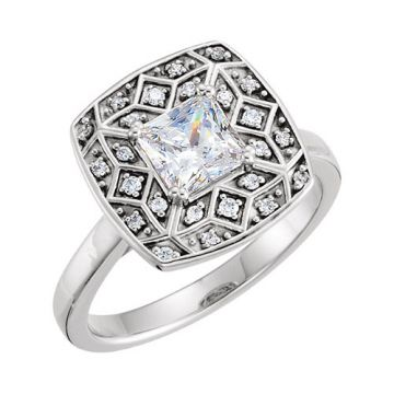 14k White Gold Square Diamond Semi-mounting Engagement Ring