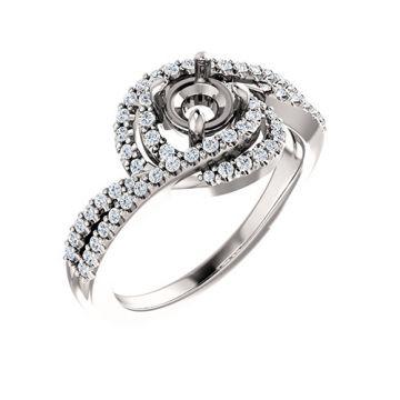 14k White Gold Diamond Twist-Style Engagement Ring