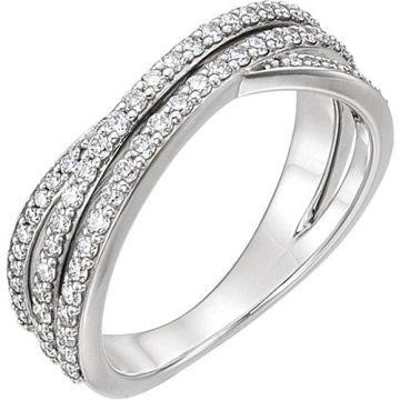 14k White Gold 5/8ct Diamond Criss Cross Ring