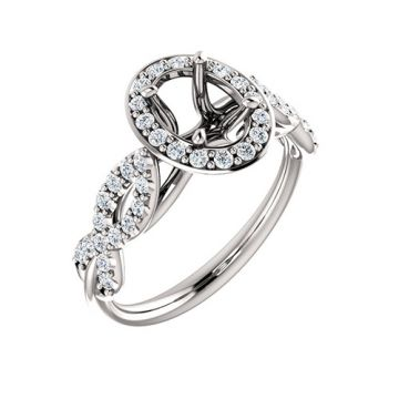 14k White Gold 3/8ct Diamond Semi-Mount Engagement Ring