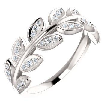 14k White Gold 1/4ct Diamond Leaf Fashion Ring