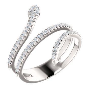 14k White Gold Diamond Snake Fashion Ring