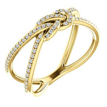 14k Yellow Gold Diamond Knot Fashion Ring