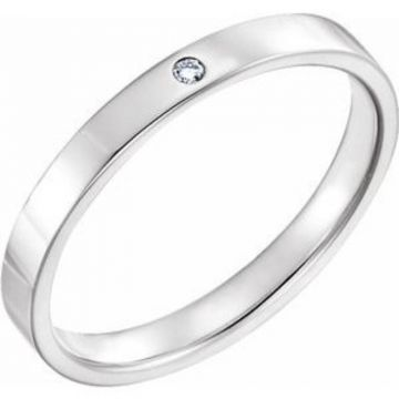 14K White .015 CTW Diamond Flat Band Size 7
