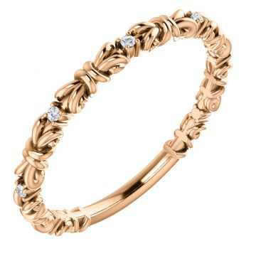 14k Rose Gold .04ct Diamond Stackable Ring