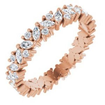 14K Rose 1 CTW Diamond Cluster Eternity Band Size 7
