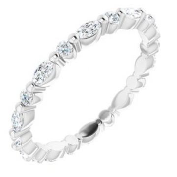 14K White 3/4 CTW Diamond Eternity Band Size 7