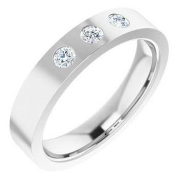 14K White 1/5 CTW Diamond 3-Stone Flat Band Size 7