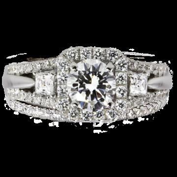 14k White Gold Rego 5/8ct Diamond Semi Mount Engagement Ring