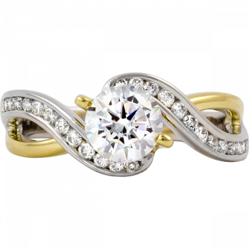 14k Two Tone Gold Rego 1/3ct Diamond Semi Mount Engagement Ring