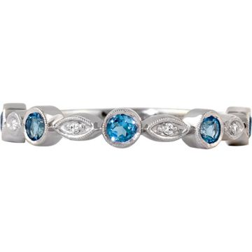 14k White Gold Rego Diamond and Blue Topaz Stackable Ring