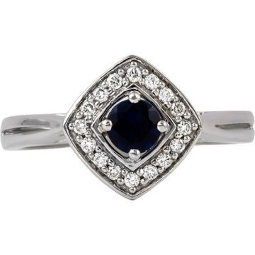 14k White Gold Rego 1/8ct Diamond and Sapphire Ring