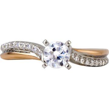 14k Two Tone Gold Rego 1/8ct Diamond Semi Mount Engagement Ring