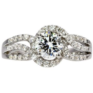 14k White Gold Rego 1/2ct Diamond Semi Mount Engagement Ring