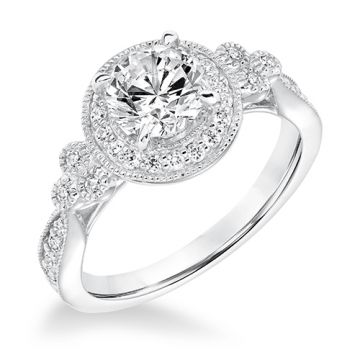 Goldman 14k White Gold 0.37ct Diamond Semi Mount Engagement Ring