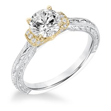 Goldman 14k Two Tone Gold 0.08ct Diamond Semi Mount Engagement Ring