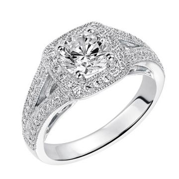 Goldman 14k White Gold 0.37ct Diamond Semi-Mount Engagement Ring