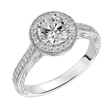 Goldman 14k White Gold 0.23ct Diamond Semi-Mount Engagement Ring