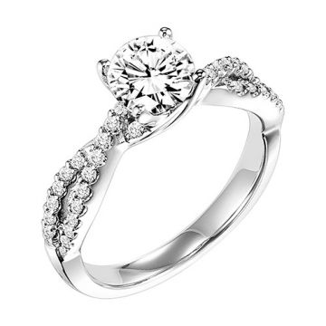 Goldman 14k White Gold 0.27ct Diamond Semi-Mount Engagement Ring