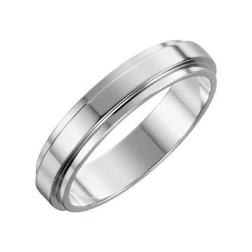 14k White Gold Flat Edge Wedding Band
