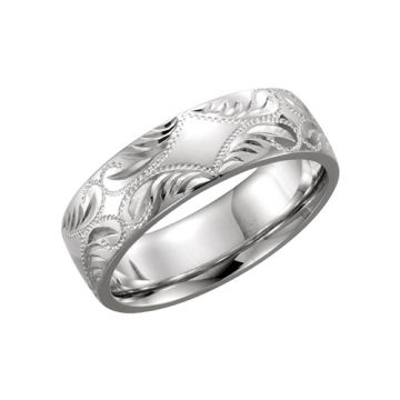 14k White Gold Hand-Engraved Wedding Band