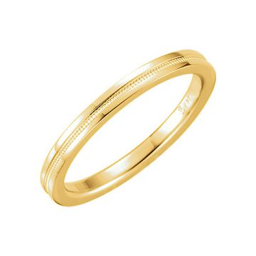 14k Yellow Gold Flat Comfort Fit Milgrain Wedding Band