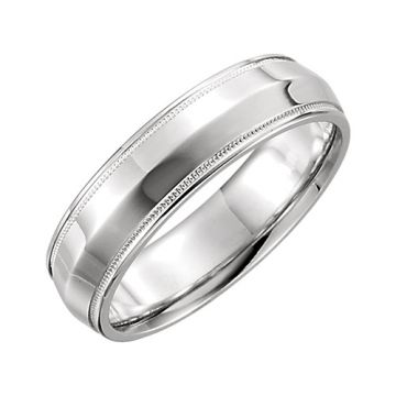 14k White Gold Comfort Fit Milgrain Wedding Band