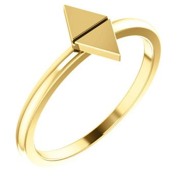14k Yellow Gold Geometric Stackable Ring