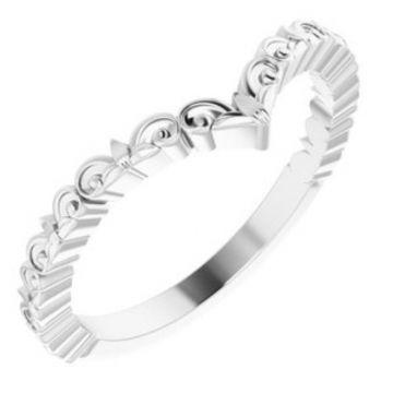 """Sterling Silver Vintage-Inspired """"V"""" Ring"""