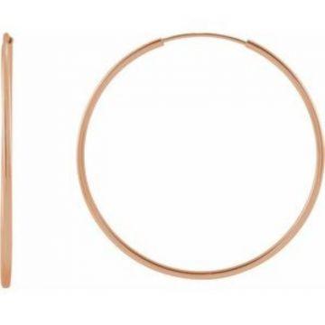 14K Rose 30 mm Flexible Endless Hoop Earrings