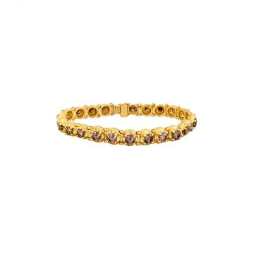 14k Yellow Gold Brown Diamond Tapered Four-Prong Custom Bracelet