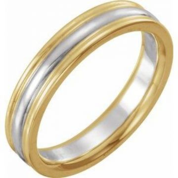 14K Yellow & White 4 mm Grooved Band Size 7