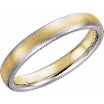14K White & Yellow 4 mm Half Round Band with Satin Finish Size 7