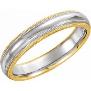 14K Yellow/White/Yellow 4 mm Half-Round Band with Double Milgrain Size 7