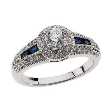 14k White Gold Blue Sapphire and Diamond Engagement Ring