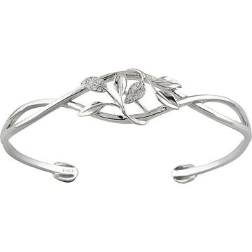 14k White Gold Diamond Leaf Design Cuff Bracelet