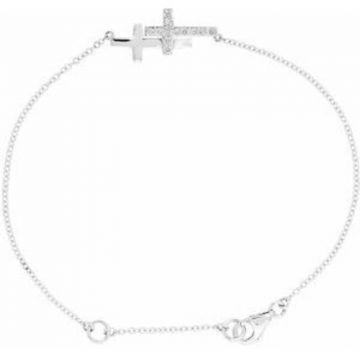 """Sterling Silver Cubic Zirconia Double Sideways Cross 8"""" Bracelet"""