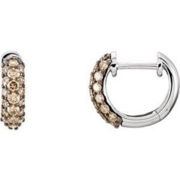 14K White 5/8 CTW Brown Diamond Hoop Earrings