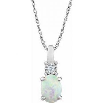 "14K White Created Opal & .02 CTW Diamond 18"" Necklace"