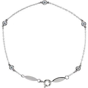 14k White Gold Spring Ring Diamond Bracelet