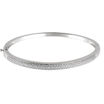 14k White Gold Polished Diamond Bracelet