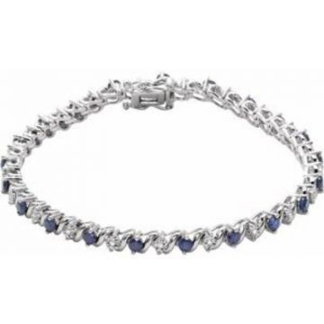 "14K White Lab-Grown Blue Sapphire & 1/10 CTW Diamond Line 7"" Bracelet"